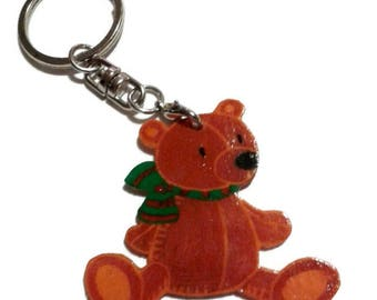 Bear Keychain with shrink plastic varnished scarf