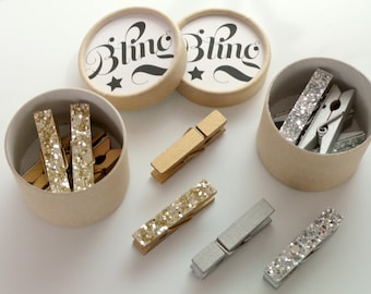 Mini Gold Glitter Pegs, Tiny Silver Glittery Pegs, Miniature Clothespin, Glittery Gifts, Bling Accessories, Set of 6 in a Gift Box