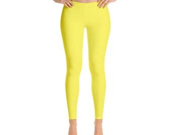 Solid Yellow Leggings For Women Yoga Pants Yoga Leggings Workout Leggings Pattern Leggings Printed Leggings Fashion Leggings Womens Tights