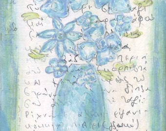 Blue Flowers  - Original Mixed Media Painting with Greek writing - Greece Painting - Greek Blues