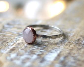 Rose Quartz Copper & Silver Handmade Ring