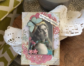 Handmade Birthday Card - Vintage-style Birthday Card - Vintage Lady Card