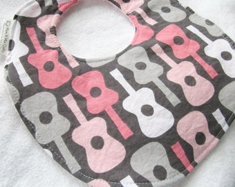 Baby Girl Bib - Groovy Guitars in Bloom - Boutique Bib for baby or toddler girl with terry cloth backing