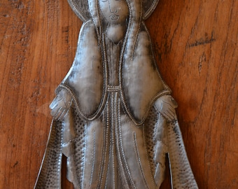 Blessed Virgin Mary Mother Madonna, Haitian Metal Art, Recycled Oil Drum