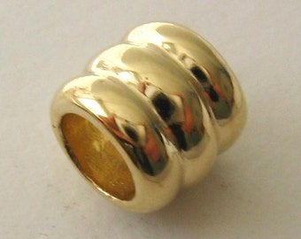 Genuine SOLID 9K 9ct YELLOW GOLD Charm Serenity Three Ring Bead