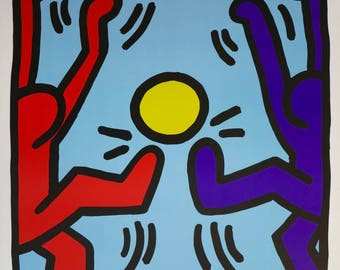 Keith Haring print - Dancing men - exhibition poster - happy - offset lithograph - excellent