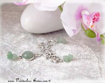 Romantic fairy necklace silver and natural aventurine