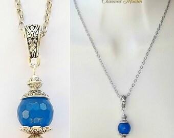 Blue Chalcedony Necklace, Blue Chalcedony Pendant, Gemstone Pendant Necklace, Chakra Necklace, Throat Chakra, Blue Necklace, Communication