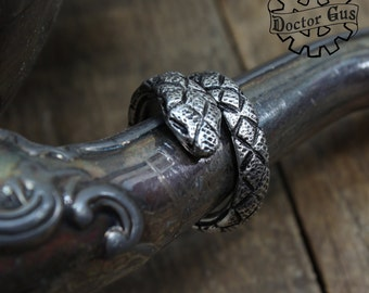 Serpent Ring - Adjustable Snake Ring - Doctor Gus Handcrafted Jewelry Creations - Pewter Snake Ring - Boho goth alt style snake jewelry