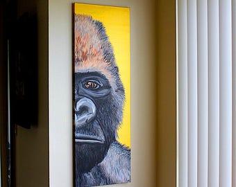 Original Western Lowland Gorilla Endangered Animal Acrylic Painting with Metallic Paint Details