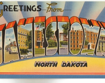Linen Postcard, Greetings from Jamestown, North Dakota, Hospital, Large Letter