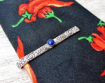 Sterling Tie Clip, Necktie Bar with lapis Lazuli Fathers day, Fancy Tie Bar