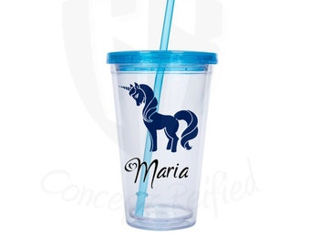 Personalized Tumbler or Fruit Infuser Tumbler with Unicorn Decal - Includes Custom Text