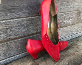 Vintage red pumps, red high heels, red suede shoes, Evan Picone shoes, rockabilly