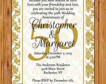 50th Wedding Anniversary Invitation Gold Tone Damask Printable 5x7 JPG Digital Invite (100)