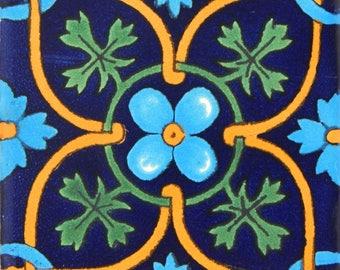 25 pcs Talavera Mexican Hand Painted Tile Folk Art Tile 4x4 C354