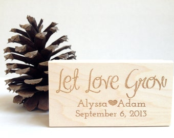 """Let Love Grow. Custom Stamp. 1.5""""x3""""  Wedding Favors. Made to Order"""