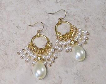 Pearl Cluster Bead Earrings, Gold Beaded Hoop Earrings, Pearl Earrings, Bride's Jewelry, Dangle Earrings,Gold Earrings, Wedding Jewelry