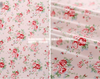 Oilcloth Fabric Homeware Craft Medium Floral on Pink Retro Style Fat Quarter
