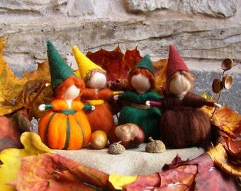Autumn gnomes by Jade Shen, Waldorf gnome, Oak children pumpkin doll, Steiner gnome, autumn elf kendal fairies, fall gnome, felted gnome toy