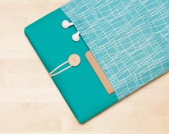 Laptop case 13 inch sleeve / Macbook Pro case  / Macbook air 13 sleeve / Dell  Inspirion sleeve / Lenovo yoga sleeve - Web turquoise teal