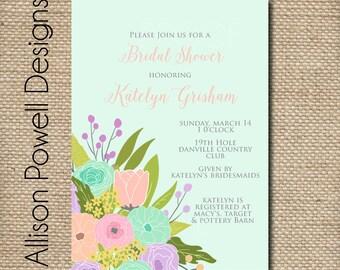 Spring Flower Bouquet Bridal Shower/Luncheon Elegant Invitations - Blue Pink PurplePrint your own