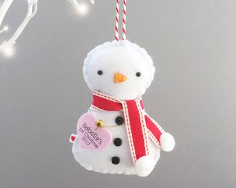 Snowman Christmas Decoration - Snowman Ornament - Baby's First Christmas Decoration