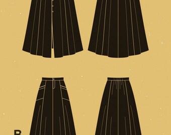 Deer and Doe paper Dressmaking pattern ' Fumeterre' skirt.