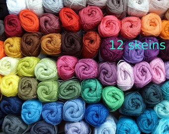 12 skeins Cotton yarn, Catania * 600 gr * crochet yarn *  each 50 gr * pick your colors * mercerized * amigurumi, lalylala 4 ply crochet