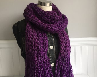 Purple Fringe Scarf / Hygge / Over-sized Scarf / Thick Scarf / Crochet Scarf / Chunky Scarf / Purple Scarf