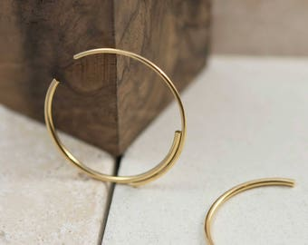 Unique Gold Hoop Earrings – 22K Gold Double Hoop Earrings for a Minimalist Hoops Look