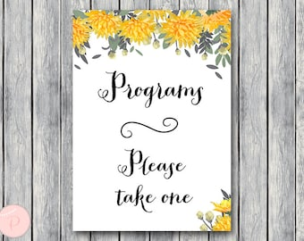 Orange Wedding programs sign, Printable Program Sign, Wedding Ceremony Program, Printable sign, Wedding decoration sign TH29