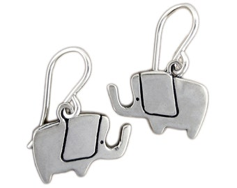 Little Elephant Earrings - Sterling Silver Pachyderm Earrings