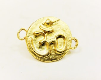 Vermeil, 18k gold over 925 sterling silver om charm or connector, matte gold  om sign, vermeil  ohm charm connector, meditation finding,