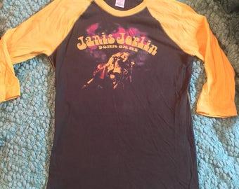 90s Janis Joplin Lucky Brand Concert Raglan Baseball TEE 70s Colors