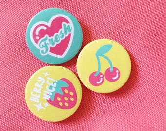 Fruit Button Badge Set / Pinback Button Set