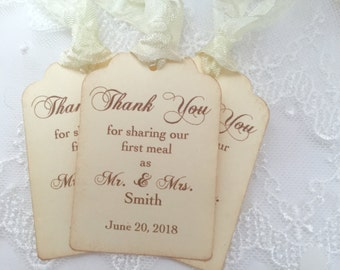 Wedding Napkin Tags Wedding Napkin Ties Set of 10 Thank you for Sharing our First Meal Personalized Tags
