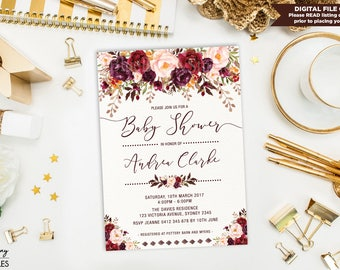Rustic Floral Baby Shower Invitation. Garden Boho Flower Invite. Burgundy Pink Roses Autumn Fall Baby Invitation. Kitchen Tea Party. FLO19