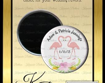 "Wedding Favors, Flamingo Wedding Favor Magnets, 2.25"" Custom Wedding Magnet, Florida Wedding Favor, Beach Wedding, Refrigerator Magnet,"