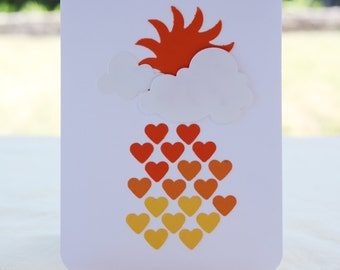 Simple Sunshine Raining Hearts Card