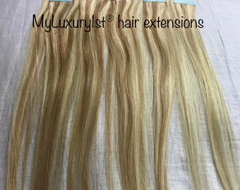 10 Pieces Remy Human Hair Tape in Extensions 19 inches Two Toned Bleach Blonde and Ash Blonde Colored Highlighted Tape-in Streaks Straight