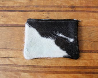 Cowhide Small Zippered Pouch