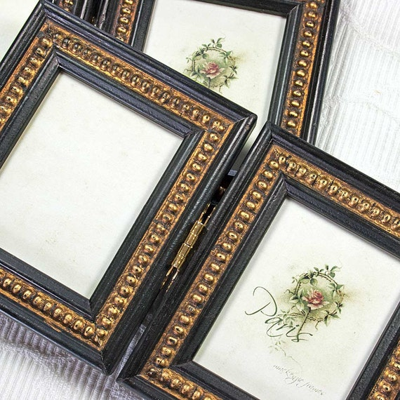 Mini Sized Hinged Double Photo Frame in Black & Gold Boules Shabby ...