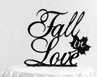 Fall in Love Cake Topper, Custom Cake Topper,  Wedding Cake Topper, Personalized Cake Topper