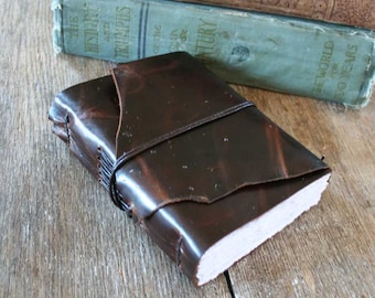 """Leather Journal - """"Not being heard is no excuse for silence"""" -Victor Hugo, Les Miserables . handmade handbound . dark brown  (320 pgs)"""