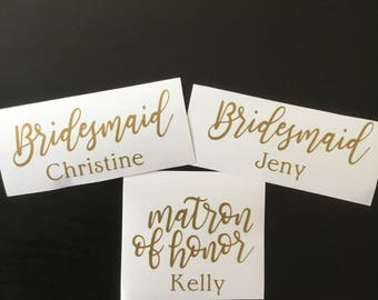 Bridesmaid gift, maid of honor gift, bridesmaid name decal, custom name decal, bachelorette party, bridal party gift, wedding party gift