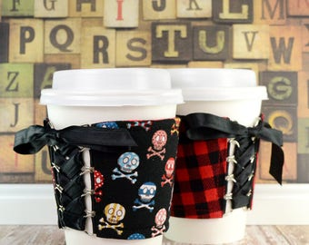 Corset Cozy Cuff // Lumberjack Sparrow Cup Cozy // reversible // adjustable // red plaid // skulls // reusable // cold drink cozy