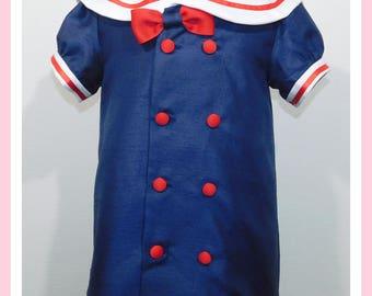 Baby Girl Sailor Dress, Nautical Dress Baby, Sailor Dress