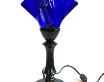 Decorative Lamp in Cobalt Blue Handmade Art Glass