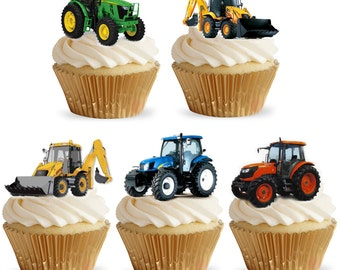 15 Stand Up Tractors and Diggers Edible Premium Wafer Paper Cake Toppers